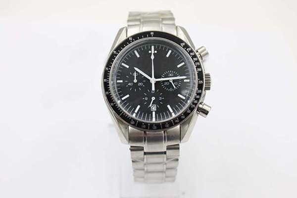 Chegada nova Quartz Rosto Preto Completa dos homens de Aço Inoxidável relógio de Pulso Da Lua Analógico Ti3 Profissional Speed Male Watch O1