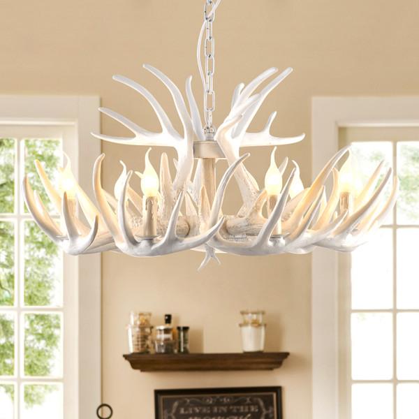Art rétro résine de résine bois lustre blanc Abat Corne de Deer lampe de cuisine Bar Restaurant Hôtel lustre rétro moderne