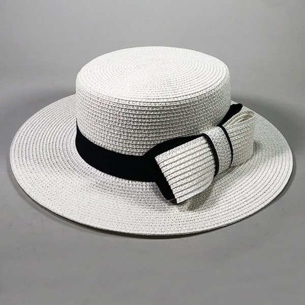HT2372 Hasır Şapka Siyah Bant Büyük Yay Kadın Yaz Şapka Düz Ağız Fötr Panama Boater Bayanlar Düz Üst Geniş Ağız Plaj Güneş