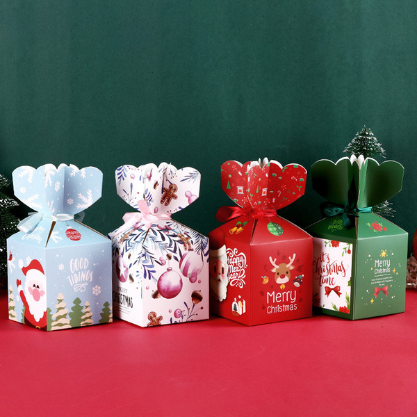 Diy Christmas Candy Box Creative Pingan Fruit Festival Packaging Box Christmas Chocolate Gift Wrap Paper Box Top Christmas Decorations Traditional