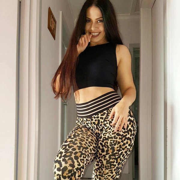 Tide Leopard-print tight-fitting sports leggings wear fitness yoga pants 2019 new fashion sexy European American women's adult clothing