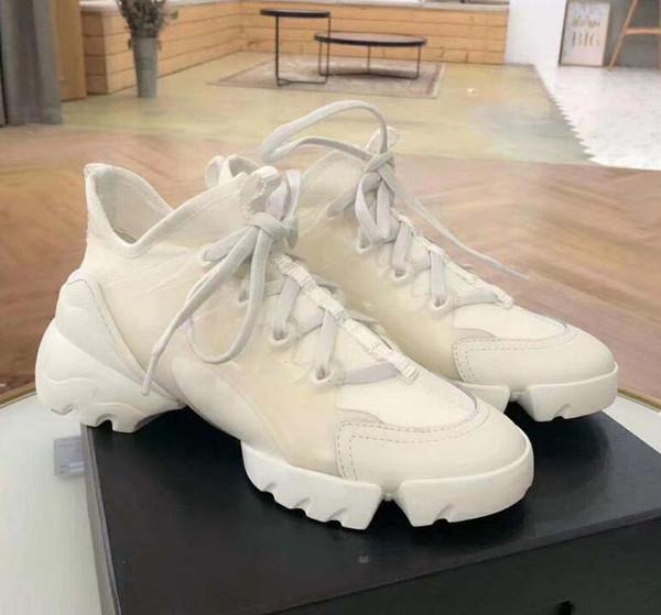 uomini di marca scarpe casual in neoprene del nastro del Grosgrain D-Connect Lace Up della scarpa da tennis del progettista della signora avvolgente suola in gomma scarpe da ginnastica d5