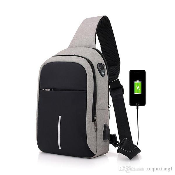7ae206925ec Bolsos de hombro para hombre Bolsos crossbody de carga USB Hombres Bolsa  antirrobo Bolsa de verano