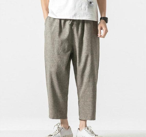 2019 Summer Joggers Men Pants Cotton Linen Casual Slim Streetwear Vintage Sweatpants Ankle-length Trousers Men