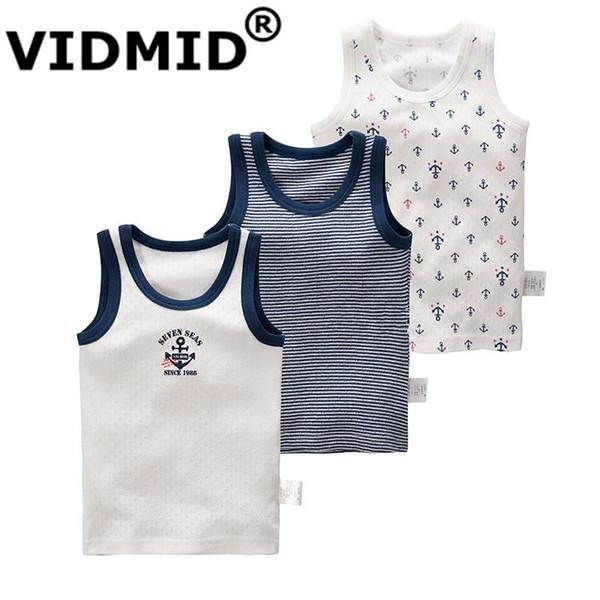 Vidmid Boys Sleeveless T-shirt Summer Children Outerwear Boy Vests Clothes Kids Tanks Boys Cotton Colorful Vest T-shirts 4003 Y190518
