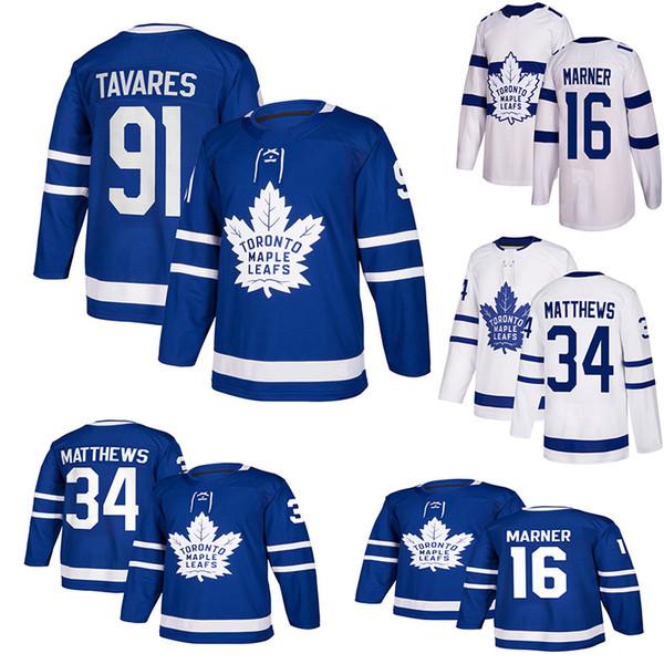 Мужчины Toronto Maple Leafs трикотажные изделия 91 John Tavares патч 34 Auston Matthews 16 Mitchell Marner хоккей Джерси