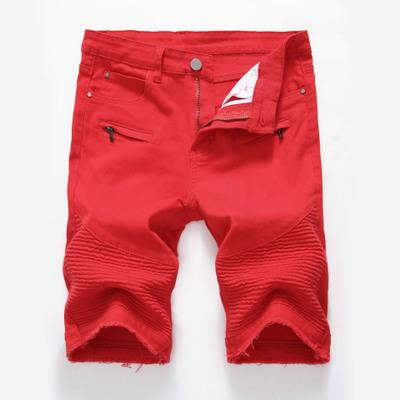 New men's fashion high street zipper stretch slim casual denim white black shorts ripped men's trousers
