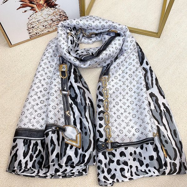 high-grade Fashion brand womens Pure silk scarf Scarves brands design Scarf women high quality Plaid Letter pattern design 6 color Scarf