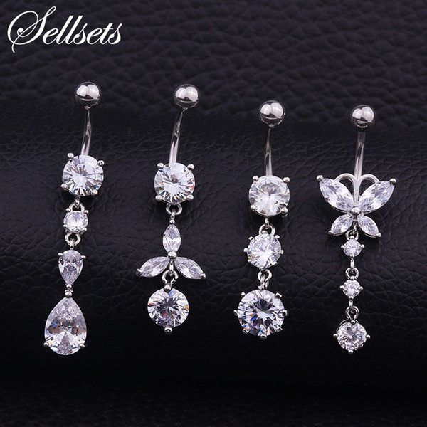 Sellsets Drop Shipping Sexy Cubic Zirconia Dangle Navel Piercing Belly Button Rings Surgical Steel Body Jewelry Wholesale