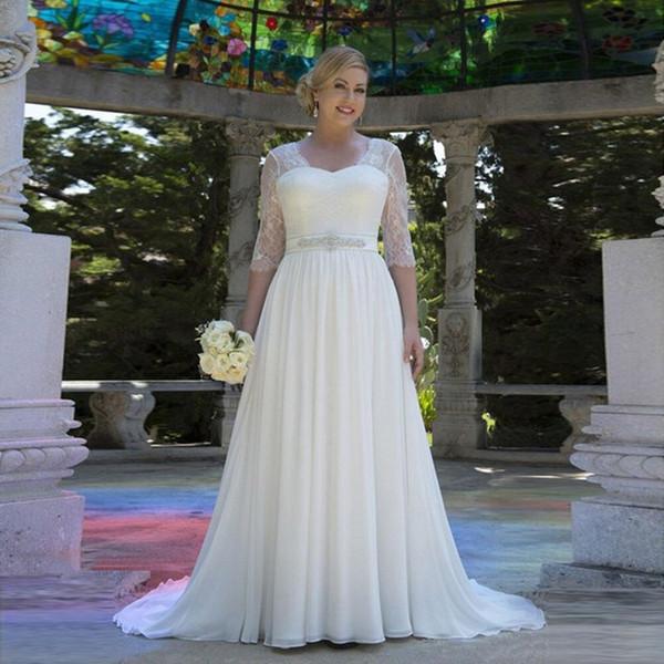 2019 rendas chiffon praia vestidos de noiva com vestido de noiva de cristal de noiva vestido com mangas meia