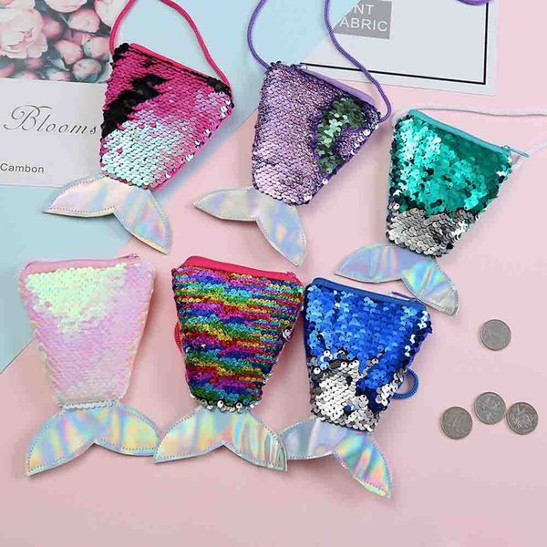 top popular New Arrival Girls Love Mermaid Sequins Coin Purse With Lanyard Beautiful Fish Shape Tail Coin Pouch Bag Small Portable Glittler Wallet 2019