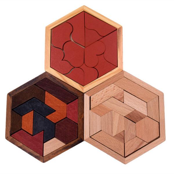 Puzzles enfants Jouets en bois Tangram Jigsaw Conseil Forme géométrique Entraînement Cérébral IQ Jeux Puzzle Jouets éducatifs pour les enfants cadeau de Noël