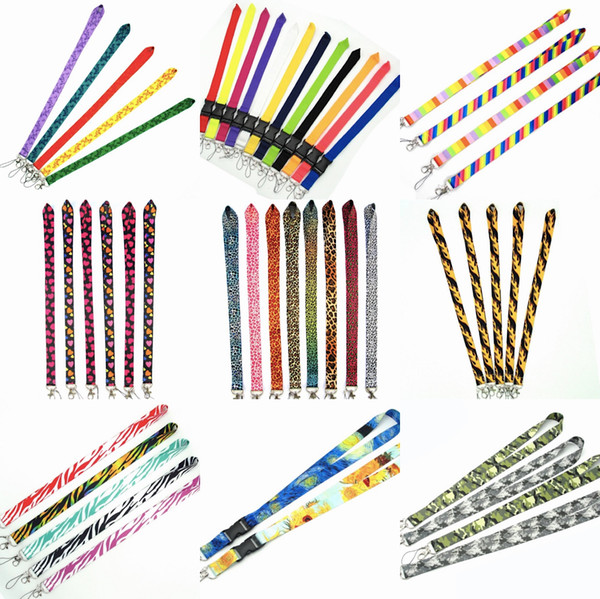 best selling 11 Designs String Head Neck Strap Lanyard 12 Colors key phone work ID card Slim Design