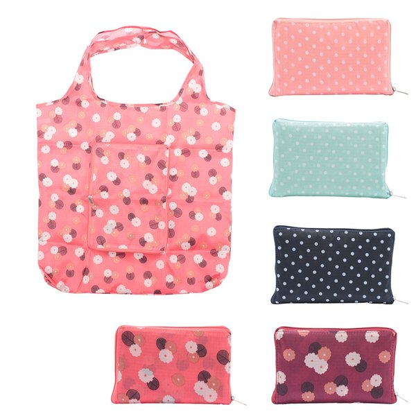 Fashion Eco friendly Flower Print Foldable Handy Shopping Bag Reusable Household Tote Pouch Recycle Waterproof Storage Bag