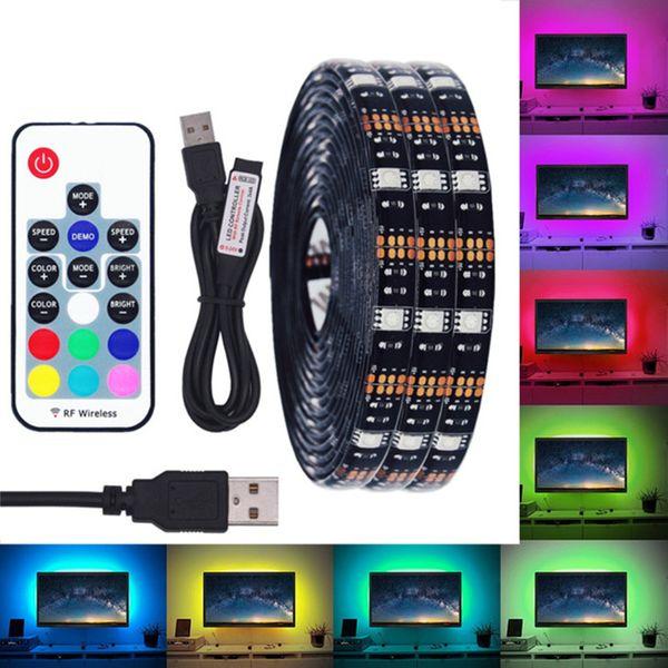 DC 5V USB Bande LED 5050 RGB LED étanche Bande LED flexible Bande adhésive 50CM 1M 2M 3M 5M 17Key à distance pour l'éclairage d'arrière-plan TV