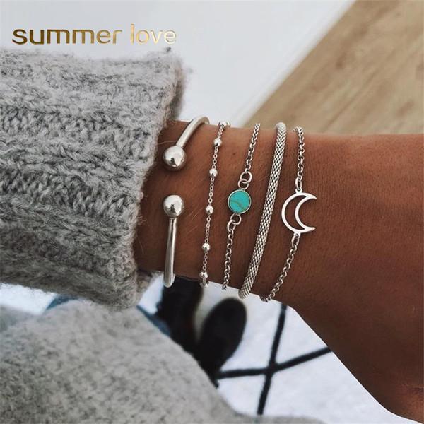 5 Pcs/Set Vintage Silver Cuff Bangle Bracelets For Women Bohemia Turquoise Moon Charm Chain Bead Bracelet Set 2019 Jewelry Gifts