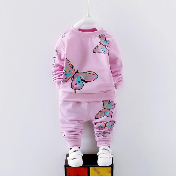 buona qualità primavera autunno ragazze abbigliamento insieme nuove ragazze primavera bambini in cotone abbigliamento casual stampa shirt + pants 2 pezzi vestito set