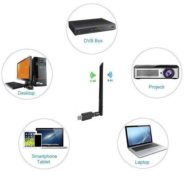 USB 1200Mbps de largo alcance AC1200 de doble banda de 5 GHz Wireless WiFi 3.0 Adaptador de Antenas