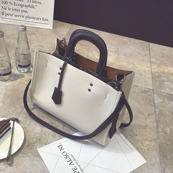 Europa y los Estados Unidos de las mujeres calientes de gran capacidad bolso de moda bolso de la PU pequeña bolsa cuadrada de color sólido de alta calidad negro gratis