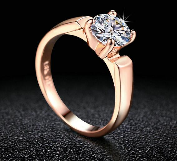 1.25 Round Cut Cubic Zircon Engagement Rings Silver/Rose Gold Color Wedding Jewelry For Men/Women Anel DFR054