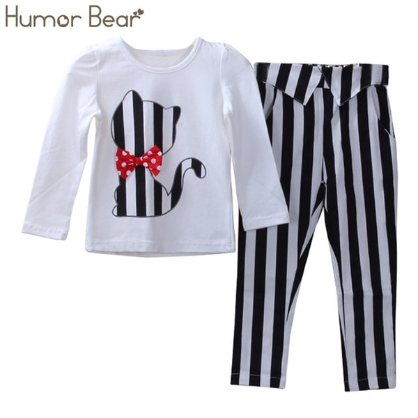 Humor Bear Children Autumn Baby Girls Clothes Cartoon Fashion Cute Cat Long-Sleeved +Pant Suit Girls Set Clothing Sets SH190907