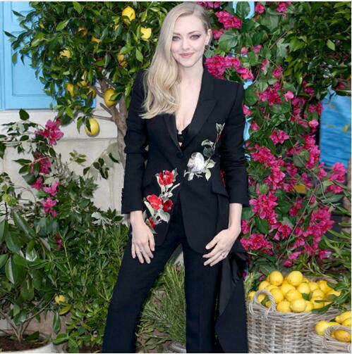 Mulheres 2 peças set flor calças pássaro bordado Slim Fit jaqueta + calça comprida terno de trabalho uniforme de escritório preto terno de negócio
