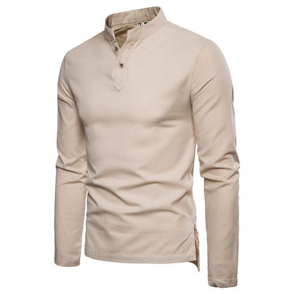 Chinese style cotton linen shirts healthy linen stand collar two buckle long-sleeved fashion shirt men's pullover casual shirts wholesale