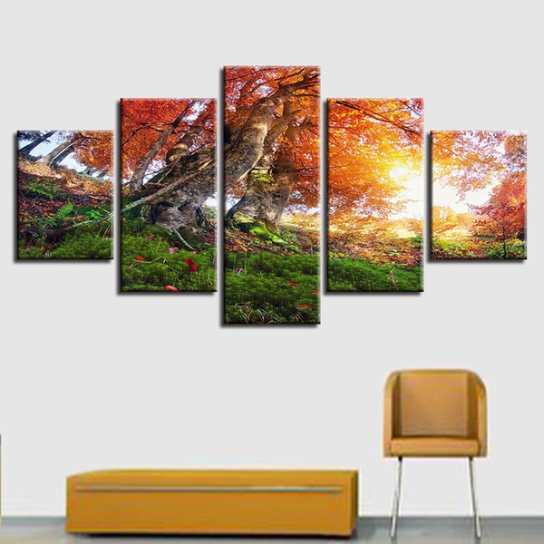 Canvas HD Prints Pictures Wall Art 5 Pieces Autumn Forest Trees Painting Scenery Poster Modular Living Room Home Decor Framework