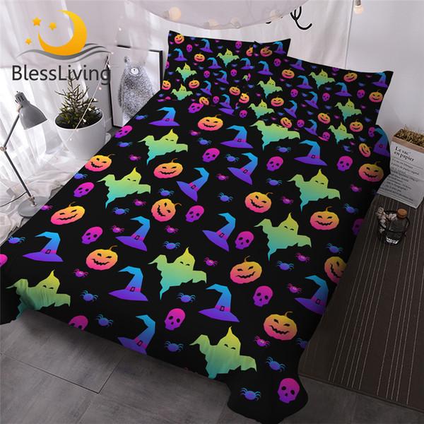 BlessLiving Happy Halloween Bedding Set 3pcs Cartoon Duvet Cover Broom Pumpkin Kids Bed Cover Hat Candy Bat Colorful Bedspreads