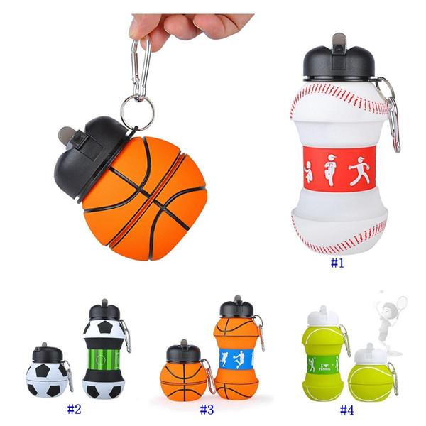 Deportes de los niños botella de agua potable escuela a prueba de fugas taza plegable en forma de bola de béisbol tenis fútbol voleibol taza de viaje MMA2577