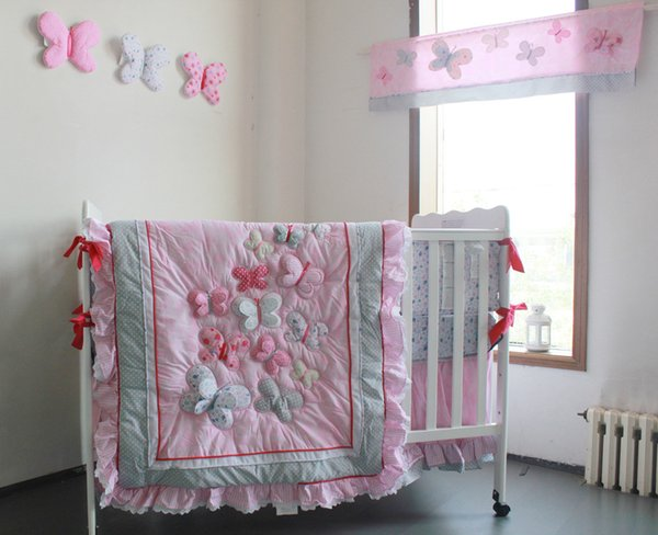 Pink 3D Butterfly Baby bedding set Cotton 7Pcs Crib bedding set Quilt Bumper Cot bedding set for infant girl