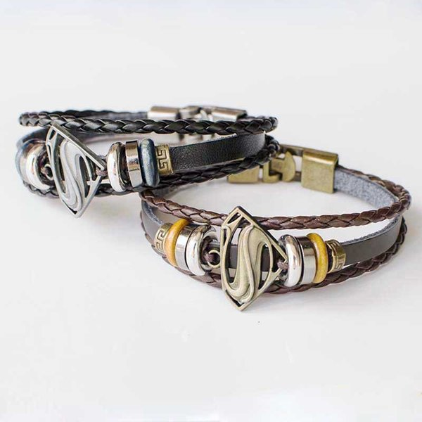 Leather Multilayer Bracelet Superman Bracelet Batman Bracelets Wrap Bracelets Fashon Jewelry Valentine Gift Drop Shipping