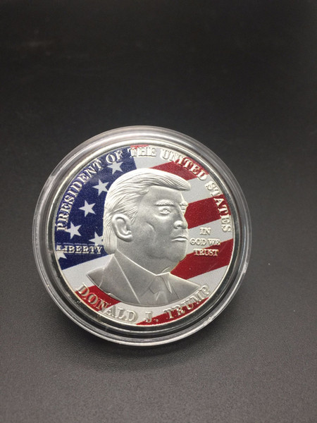 best selling Colorful Trump Metal Craft Coin Badge 3D American President Donald Currency Commemorative Coin Collection Coin Gifts HH9-2172