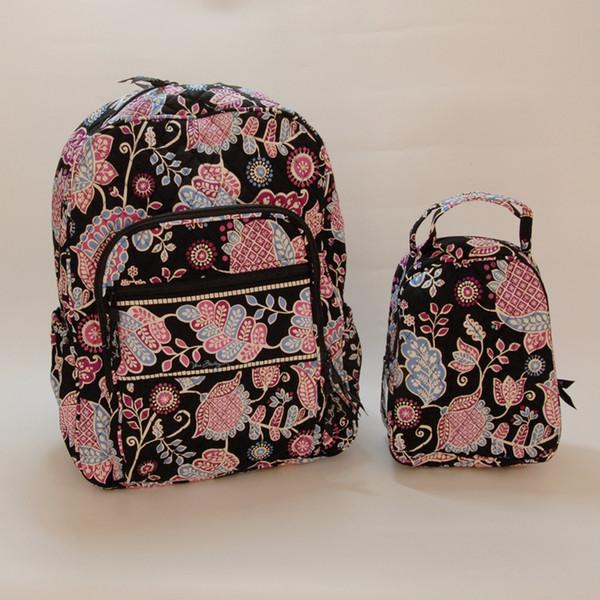 VB Campus Рюкзак с Обедом Сумка Alphine Цветочные Большие школьные сумки для Back To School Vintage принты Рюкзаки