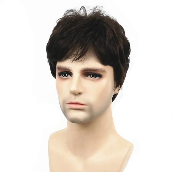 Peluca de los hombres de StrongBeauty pelucas llenas sintéticas del pelo recto corto natural marrón oscuro