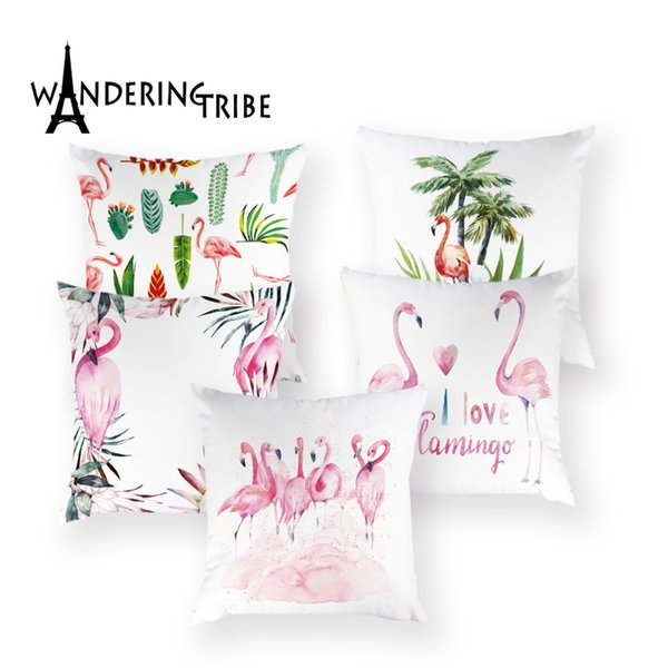 Cartoon Flamingo Throw Pillow Case Colorful Pink Decoration Home Cushions Cover Luxury Pillow Case White Cushion Pillows Covers