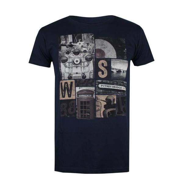 Putney Bridge ícones de Londres Dos Homens T-Shirt Azul Marinho Moda de Rua 2018 Novo Tee Impressão Hip Hop Camiseta Curta T-Shirt Dos Homens Topos