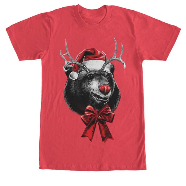 Lost Gods Rein-Bear Ugly Christmas Sweater Print Mens Graphic T Shirt short sleeve men Tee comfortable fabric T shirt o-neck knitted