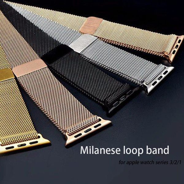 Stainless Steel Milanese Loop with Magnetic Closure Replacement Band Compatible with iwatch Series for Apple Watch Band