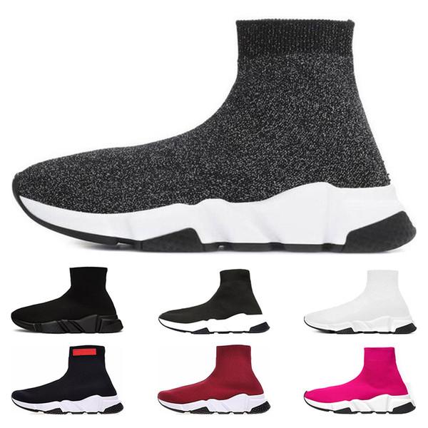 Acheter Balenciaga Top Mode Speed Trainer Marque De Luxe Chaussures Rouge Gris Noir Blanc Flat Classique Chaussettes Bottes Baskets Femmes Baskets