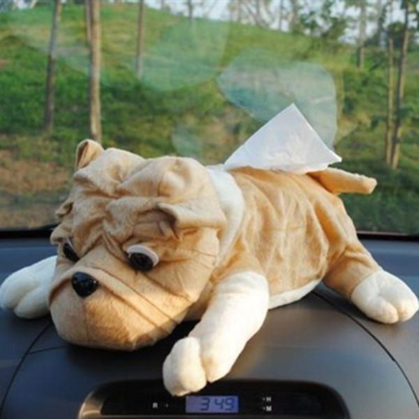 Cute Shar Pei Paper Towel Pumping Cartoon Plush Dog Tissue Box Car Dual-use Tissue Box Dog Paper Towel