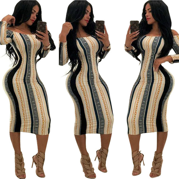 Women's Sexy Bodycon Dress 2019 Spring New Arrival Printed Long Sleeve Clothing Sexy Nightclub Style Ladie Mid-calf Sexy Dresses