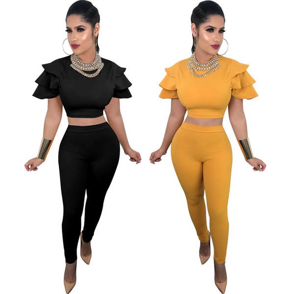 Женская одежда из двух частей Наборы из 2 частей женского комплекта Производители одежды источник весна новая горячая мода летать летающий рукав костюм
