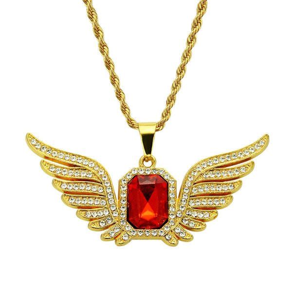 Hip-hop Men Necklace Diamond Wing Necklace Alloy 18K gold plated Sapphire Necklace Rectangular Ruby Pendant Ornaments