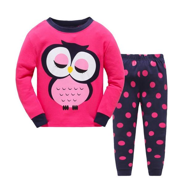 2018 children Autumn Pajamas clothing Set Boys & girls Cartoon Sleepwear Suit Set kids long-sleeved+pant 2-piece baby clothes