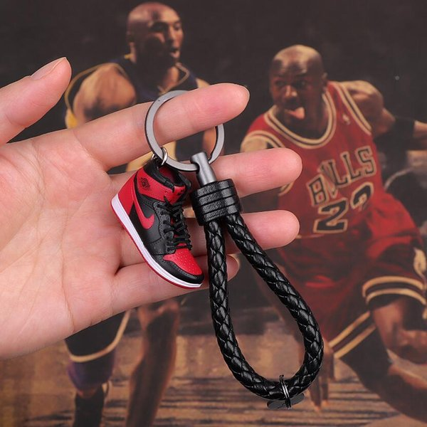 Luxury Keyrings Sneaker Rings Retro Basketball Shoes Woven Key Rings KeyChains Bred Banned Top3 CONCORD with box