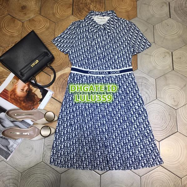 Women's Fashion Luxury Designer Vintage Shirt Pleated Dress Letter Print Dress Girls A-Line Runway Midi Knee-Length Skirt Female Dress