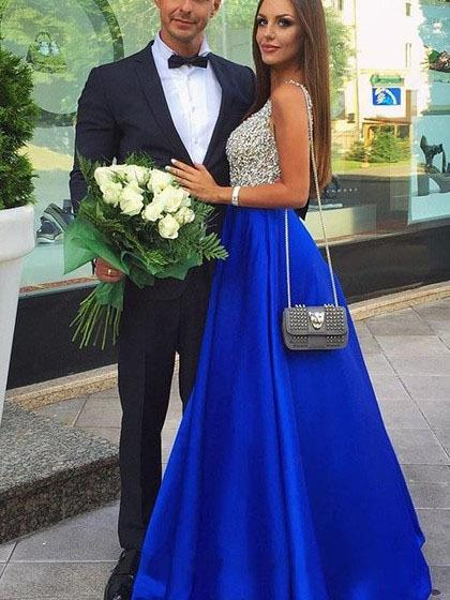 Elegant Long V Neck Prom Dresses Sleeveless Sweep Train Chiffon Royal Blue A-line Formal Evening Dresses Gown Vestido De Noche