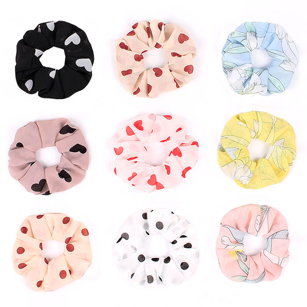 Lady girl Hair Scrunchy Ring Elastic Hair Bands Love heart Leopard plaid Large intestine Sports Dance Scrunchie Hairband 20pcs G1008