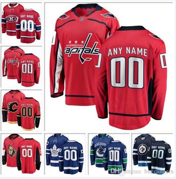 new arrival 6e9e9 8c64a 2019 Custom Canada Nhl Hockey Teams Jersey Vancouver Canucks Ottawa  Senators Winnipeg Jets Toronto Maple Leafs Goalie Cut Hockey Jerseys Retro  From ...